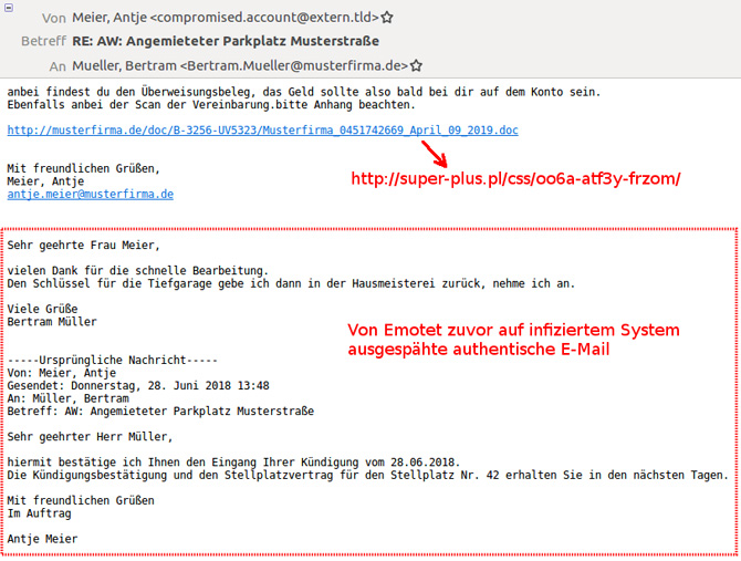 Screenshot einer Emotet-Mail
